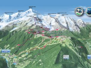 Les Houches Summer trekking, hiking and mountain biking Map