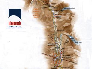 Map of the Chamonix Mont Blanc Valley