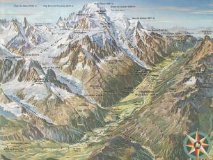Map 3D of the Chamonix Mont Blanc Valley