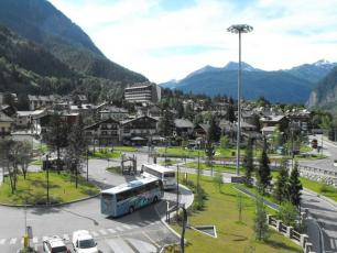 Savda Bus in Piazzale Monte Bianco Bus Station in Courmayeur