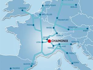 Carte de l'Europe et de Chamonix Mont Blanc
