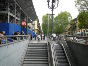 Metro Entrance in front of Porta Nuova Main Rail Station in Turin