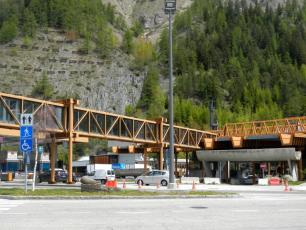 Toll charge at the entrance in the Mont-Blanc Tunnel, after passport control