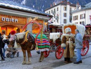 Charrette avec Cheval en Chamonix ville