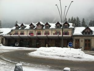 Chamonix Mont-Blanc Train Station in winter