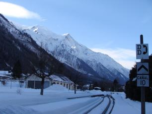 Looking south east from Chamonix Mont-Blanc Train Station in winter