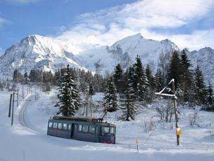 Blue Tramway du Mont Blanc in Winter