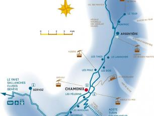 Transport & Trains Map in the Chamonix Valley