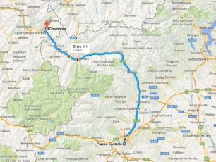 Turin Centre to Chamonix Mont-Blanc Map