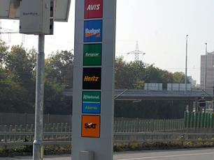Sign for car return at P51 outside the entrance