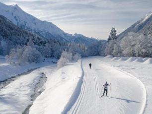 Cross-country ski trails in Chamonix Mont Blanc. Photo @ Chamonix.com