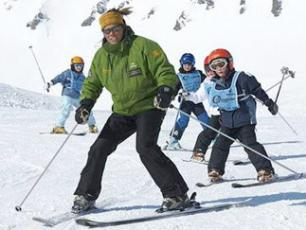 Ski Instructor and children in Chamonix, Le Tour/Balme ski resort