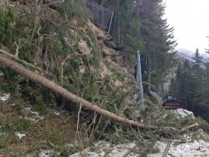 The foehn winds that blew in Chamonix did considerable damage to the Montenvers Railway. photo source @ledauphine.com
