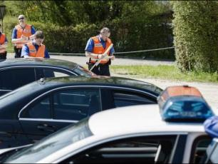 Cars checked by the Swiss officials