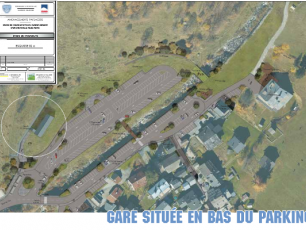 To relocate the station to the bottom of the car park on the right bank of the River Arve