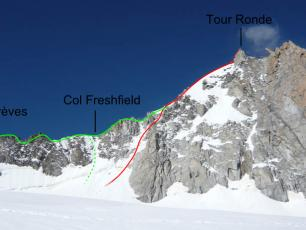 Tour Ronde, face E and ridge SE.  Photo source: @www.camptocamp.org