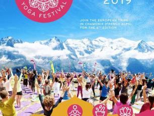Affiche officielle du festival de yoga de Chamonix pour la 6e édition en 2019, source @ www.facebook.com/chamonixyogafestival/