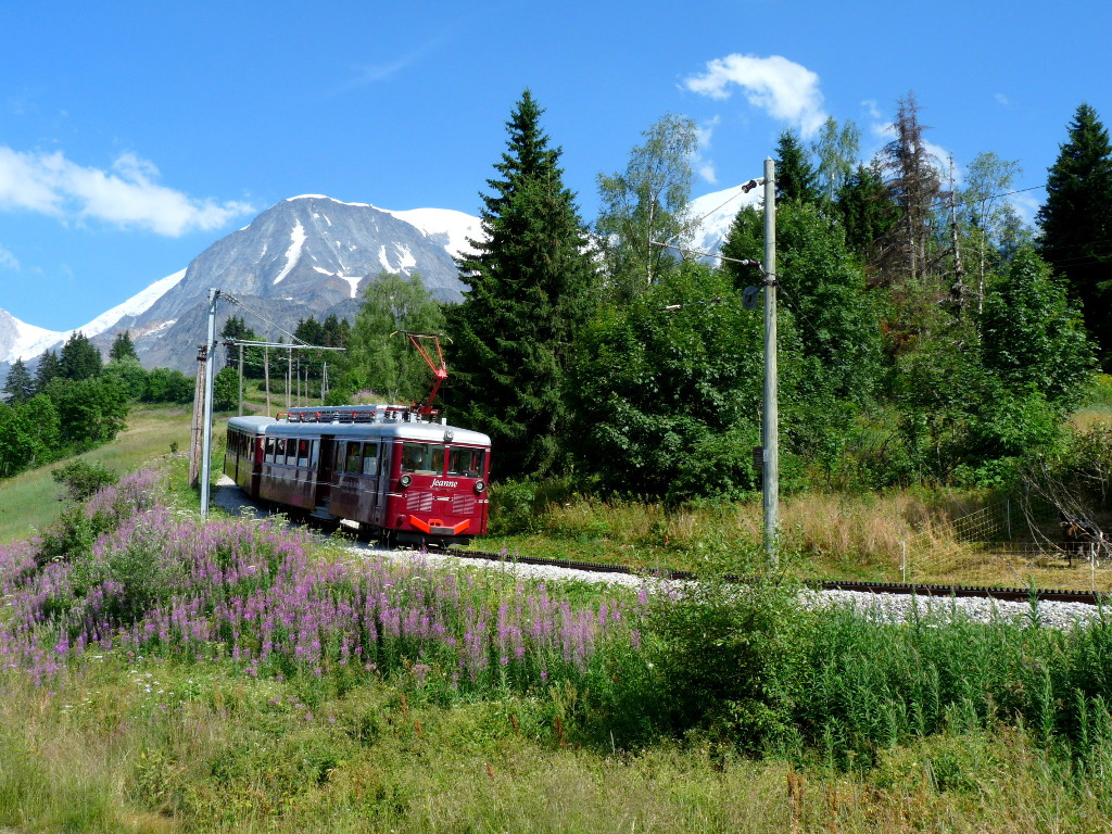 The Tramway du Mont Blanc also known as TMB and Mont Blanc Tramway