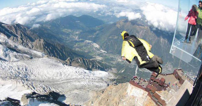 Wingsuit from the Aiguille du Midi, Chamonix